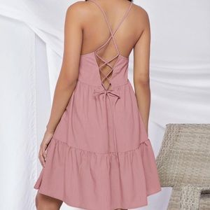 Maternity ruffle hem crisscross tie cami dress